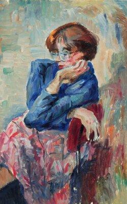 Картина Красивая Оригинальная картина маслом Портрет женщины яркие цвета на холсте в стиле импрессионизм