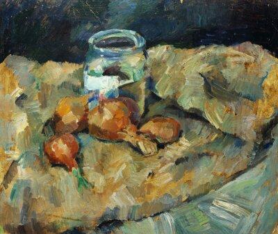 Картина Красивые оригинальные картины маслом натюрморт ..pot лампочка на ткани на холсте в желтых и синих цветах в стиле импрессионизма
