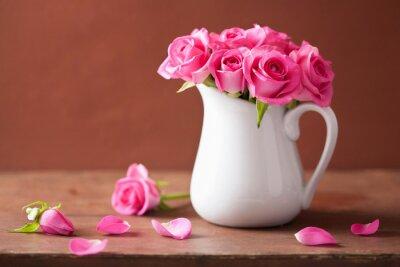 Картина красивые розовые розы букет в вазе