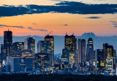Картина Красивая Силуэт Токио Skyline в сумерках