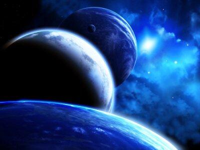 Картина Красивая космическая сцена с парадом планет и туманности