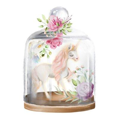 Картина Красивый, единорог, волшебная лошадь и цветы в стеклянной каменке. Фантазия акварель иллюстрации, изолированных на белом