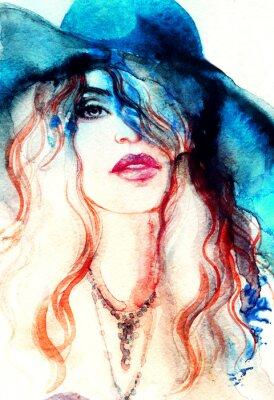 Картина Красивая женщина лицо. акварель иллюстрации Абстрактные моды