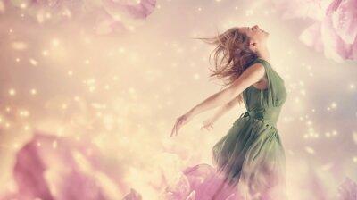Картина Красивая женщина в розовый пион цветок фантазии