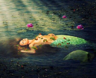 Картина Красивая женщина русалка