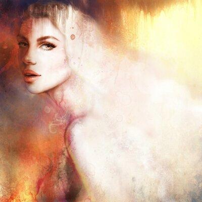 Картина Красивая женщина портрет. Ручная роспись моды иллюстрации