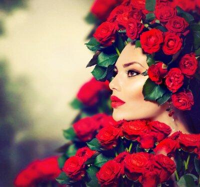 Картина Красота Мода Модель портрет девушки с красными розами Прическа
