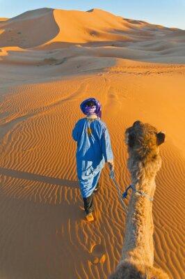 Картина Берберские ходить с верблюда на Erg Chebbi, Марокко