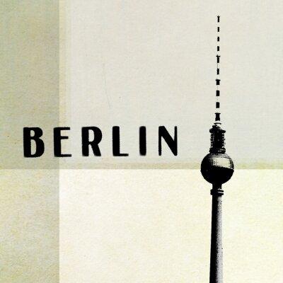 Картина Берлин Старинные открытки - телевизионная башня и буквы на абстрактных backg