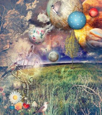 Картина Заколдованный страна с птицами и цветами