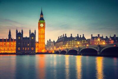 Картина Биг Бен и Вестминстерский мост в сумерках в Лондоне