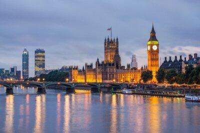 Картина Биг Бен и Вестминстерский мост в сумерках, Лондон, Великобритания