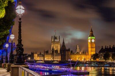 Картина Биг Бен и Вестминстерский мост в ночное время, Лондон, Великобритания