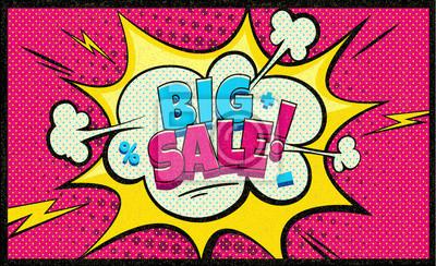 Большая распродажа в поп-арт облако пузырь. Забавный пузырь речи. Модные Красочные ретро и старинные фон в стиле ретро комиксов. Социальный пузырь. Легко редактируется для вашего дизайна.