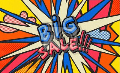 Big Sale pop art cloud bubble. Funny speech bubble. Trendy Colorful retro vintage background in pop art retro comic style. Illustration easy editable for Your design. - Vector