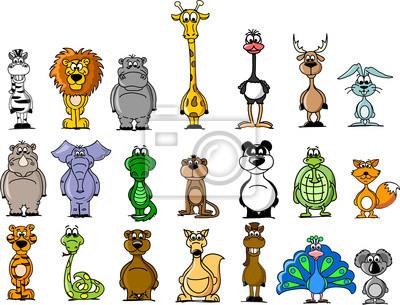 Большой набор различных животных и птиц