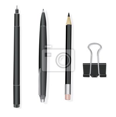 Большой набор инженерных и офисных ручек и карандашей, векторные иллюстрации.