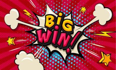 Картина Big Win! Pop art cloud bubble. Funny speech shopping sale icon bubble. Trendy Colorful retro vintage comic background in pop art retro comic style. Illustration easy editable for Your design.