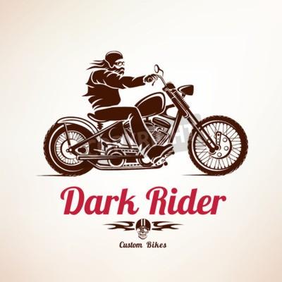 Картина байкер, мотоцикл гранж вектор силуэт, ретро эмблемы и этикетки