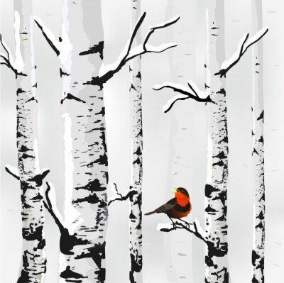 Картина Береза в снегу, зимний карты в вектор