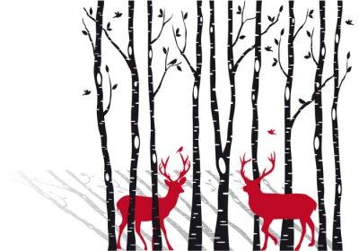 Картина березы с оленей Рождественский, вектор