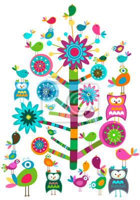 птицы и дерево