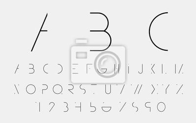 Black алфавитные шрифты и номера. Векторная иллюстрация.