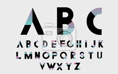 Черные алфавитные шрифты и номера с цветными линиями. Векторная иллюстрация.