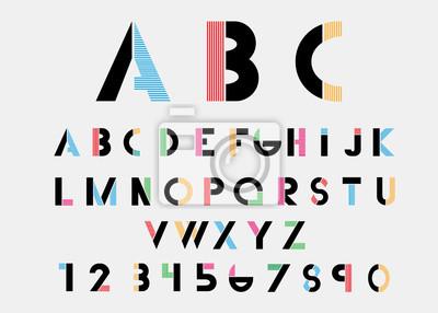 Черные алфавитные шрифты с цветными линиями. Векторная иллюстрация.