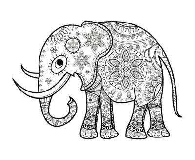 Картина Черно-белый слон украшен на белом, Elefante decorato vettoriale да colorare, су Sfondo Bianco