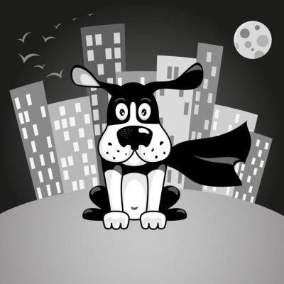 Черно-белая собака в костюме супергероя