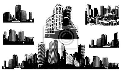 Черно-белые панорамы города. Вектор искусства