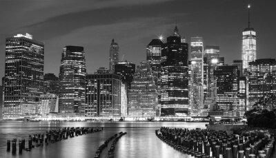 Картина Черно-белая фотография Манхэттена набережной, Нью-Йорк, США.