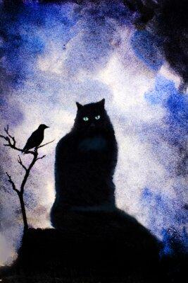 Картина Черная кошка с зелеными глазами