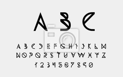 Черные геометрические буквенные шрифты и номера. Вектор eps10 иллюстратор.