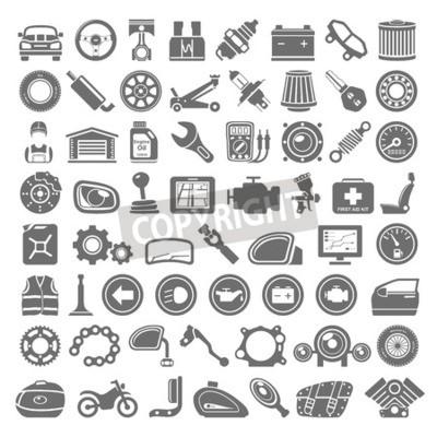 Картина Черные иконки - Запчасти для автомобилей и мотоциклов
