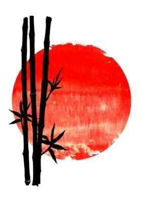 Картина Black silhouette of bamboo plants on big red sun