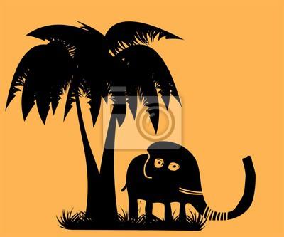 Черные силуэты слона. Мультфильм векторные иллюстрации.
