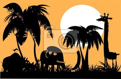 Черные силуэты диких животных. Пейзаж дикой природы. Мультфильм векторные иллюстрации.