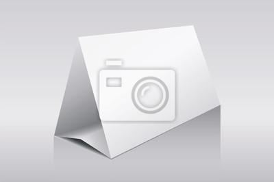 Чистый лист бумаги горизонтальный треугольник стол десять карт на белом фоне с отражениями. Векторная иллюстрация.