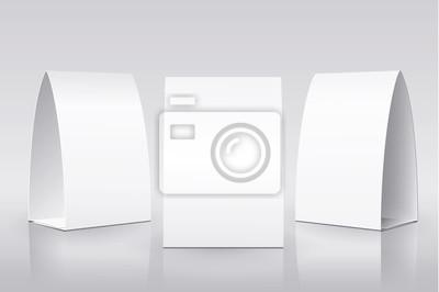 Пустой стол Палатка на белом фоне. Бумажные вертикальные карты на белом фоне с отражениями. Спереди, слева и справа вид. Векторная иллюстрация.