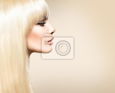 Картина Блондин Волосы. Блондинка красоты девушка с длинными гладкой блестящей волос