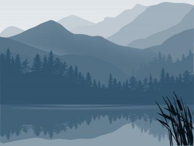 Картина синий и серый озеро в горном лесу