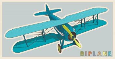 Картина Синий биплан в винтажном стиле и цветной стилизации. Модель воздушного винта с двумя крыльями. Старый ретро самолет, предназначенный для печати плакатов. Красиво и реалистично нарисованный вектор лета