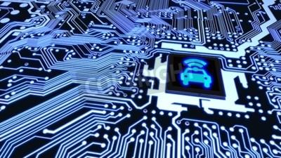 Картина Синяя плата крупным планом, подключенная к процессору с сияющим автомобилем Wi-Fi символ на верхней части смарт-концепции автомобиля 3D иллюстрации