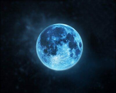 Картина Синий полный атмосферы луна темном фоне ночного неба, Элементы этого изображения мебелью НАСА