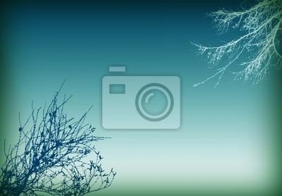 синий дерево фон