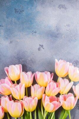 Картина Граница розовых и желтых тюльпанов на сером фоне камень с копией пространства