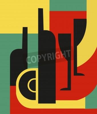 Картина Бутылка и стакан Абстрактная композиция