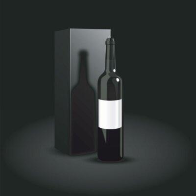 Бутылка вина дизайна упаковки. Роскошная презентация красного вина. Векторная иллюстрация. Темная бутылка вина на черном фоне
